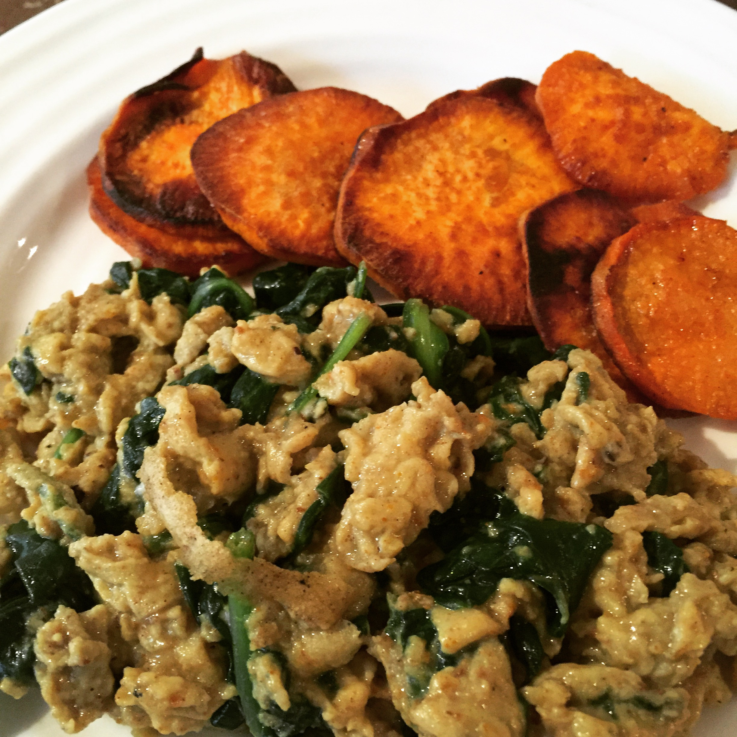 Curried Scrambled Eggs wt Spinach & Sweet Potato Medallions | Food ...